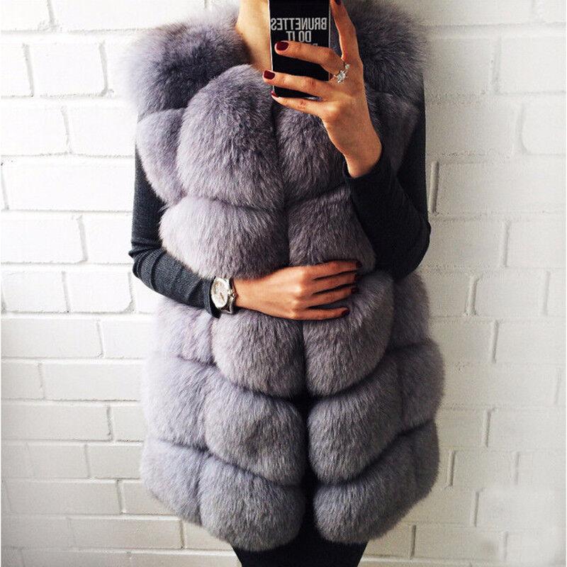 Women Whole Skin Ladies Coat Vest Gilet Overcoat Wasitcoat Christmas Gifts r1