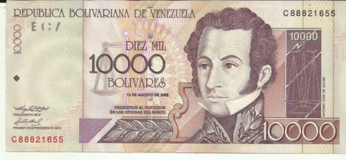 VENEZUELA 10000 BOLIVARES 2002  P 85 UNC CONDITION 6RW 03NOV