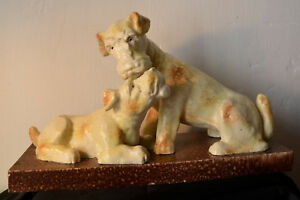 2-Grande-chiens-en-ceramique-034-fox-terriers-034-sculpture-polychrome-art-deco