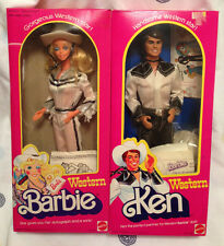 Vintage WESTERN Barbie & Ken Dolls 1980 - RARE Ken NRFB Barbie w/ Original Box