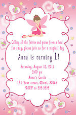 30 Fairy Invitations Girl Birthday Party Invites Pink Pixie Personalized Card A1