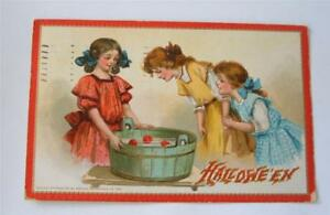 Antique-Halloween-Postcard-Tuck-Embossed-3-Young-Gibson-Girls-Bob-Apples-1911