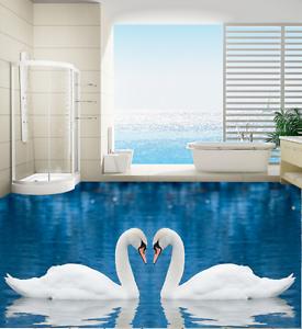 3D encantador Lago Cisne Piso impresión de parojo de papel pintado mural 7 5D AJ Wallpaper Reino Unido Limón