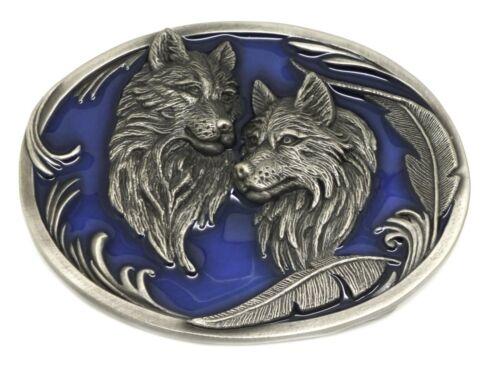 3 couleurs American Western loup Authentique Siskiyou Deux Loups Boucle de ceinture