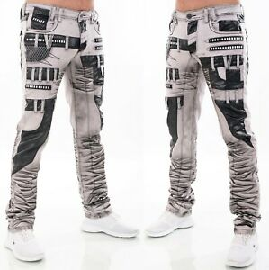 HIGHNESS Homme Pantalon Jeans Coupe Large ´S Wear Simili-Cuir Patchs Rivet Gris