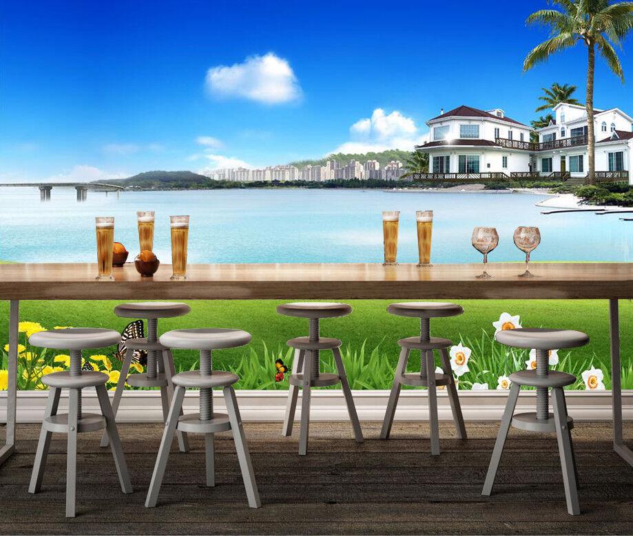 3D Garden Sea Houses 8 Wall Paper Murals Wall Print Wall Wallpaper Mural AU Kyra