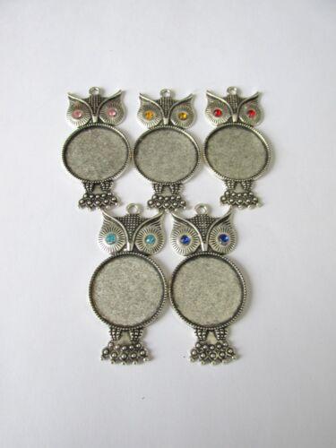 5pcs Tibétain Style Alloy OWL Pendentifs 25 mm cadre verre Bijoux Craft UK
