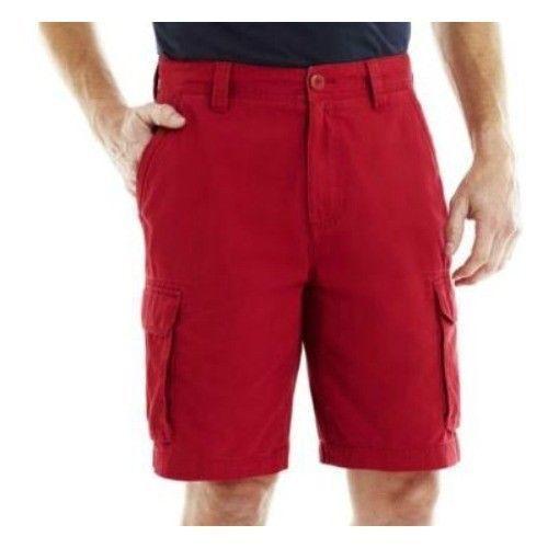 Red Blue Stone Plaid New John/'s Bay Men/'s Shorts Cargo 32 36 38 40 42 44 St