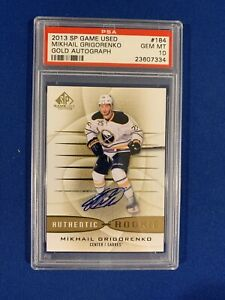 MIKHAIL-GRIGORENKO-PSA-10-2013-14-SP-GAME-USED-AUTOGRAPHED-ROOKIE-CARD-184