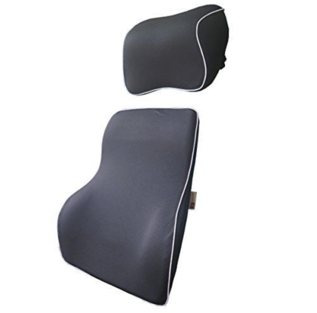 Lovehome Lumbar Support Cushion For Car And Headrest Neck Pillow Kit Black