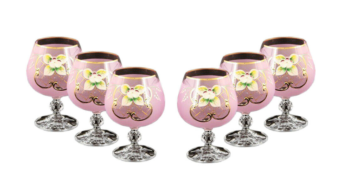 Bohemian Crystal Couleuruge Glasses, 6-pc Vintage rose Brandy Cognac Snifters