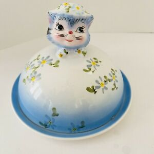 RARE-VINTAGE-LEFTON-CHINA-034-MISS-PRISS-034-BLUE-KITTY-COVERED-BUTTER-CHEESE-DISH