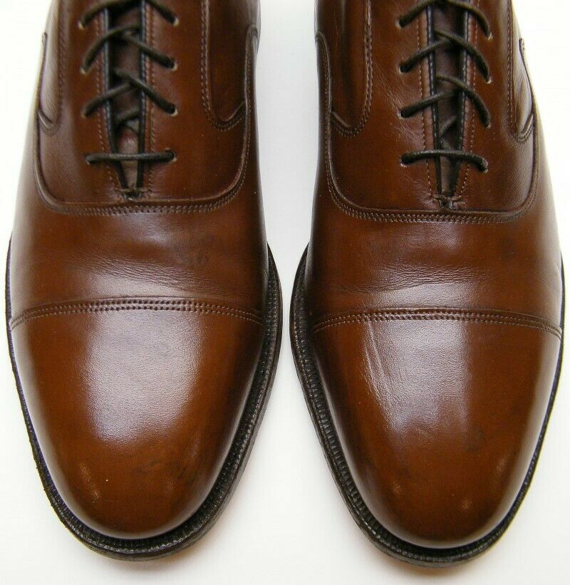 MENS JOHNSTON AND LIMITED MURPHY BRN LEATHER CAPTOE OXFORD DRESS SHOES 8.5~1/2 D