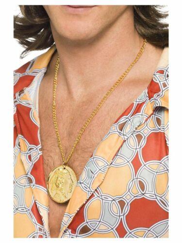 Men/'s Medaglione Pace Hippy Bling Costume CATENE Cervo Divertente Tema Gangster DO
