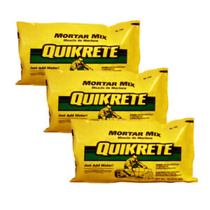Details about 3-Pack QUIKRETE 10-lb Gray Type-N Mortar Mix for Repair of  Brick Block and Stone