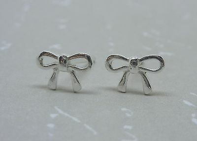 Silver Bow Earrings Tiny Solid Sterling 925 Small Ribbon Ear Studs Ebay