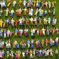 100pcs Mixed Painted Model Trains People Passengers Figures HO TT Scale 1:87