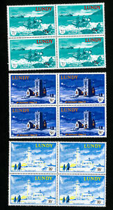 Lundy-Great-Britain-Stamps-VF-OG-NH-Lighthouse-Set-of-3-Blocks-of-4