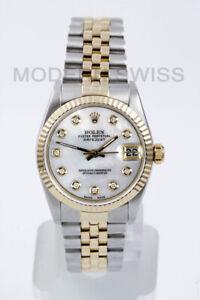 ae6ae70d076 Rolex Femmes Taille Moyenne Datejust 18K Acier Doré Blanc Mop Cadran ...