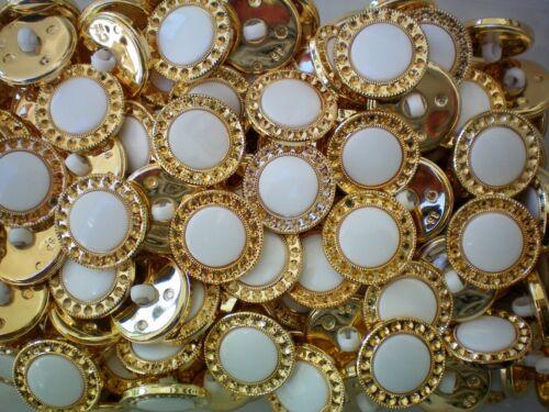 23mm 36L Dorado Y Blanco chaqueta de plástico con brillo de caña Disfraz Craft Botones W637