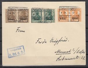 B2540-GERMANY-WWI-WESTERN-FRONT-MI-1-3-PAIRS-ON-COVER-CV-155