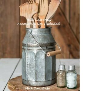 Primitive-Farmhouse-MILK-CAN-Galvanized-Canister-Pitcher-Vase-Vintage-Style