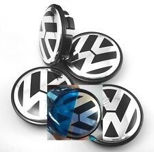 Set di 4 VW Nero 76mm WHEEL CENTRE CAPS BADGE LEGA CERCHIONI LOGO EMBLEMA VOLKSWAGEN