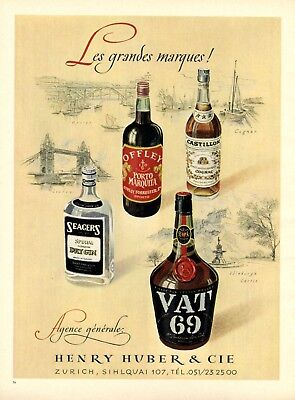 Schnelle Lieferung Spirituosen Huber Zürich Xl Reklame 1949 Offley Seagers Castillon Vat 69 Werbung SchöN Und Charmant