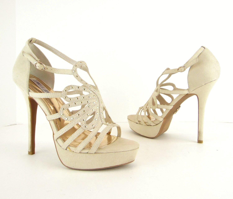 Jennifer Lopez beige clous dorés talons hauts à plate-forme Sandales Escarpins 7.5 m JLO (S495)