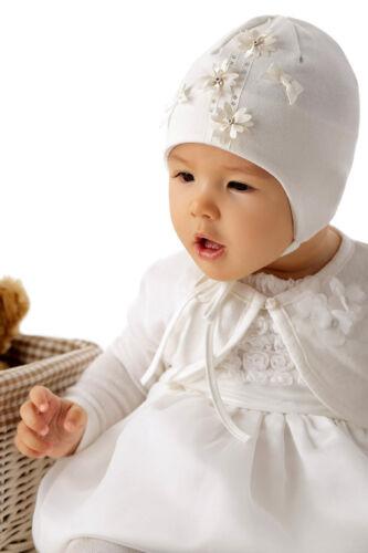 Marika Baby Mädchen Mütze Festlich Taufe Blumen Schleife Baumwolle Vanille Creme
