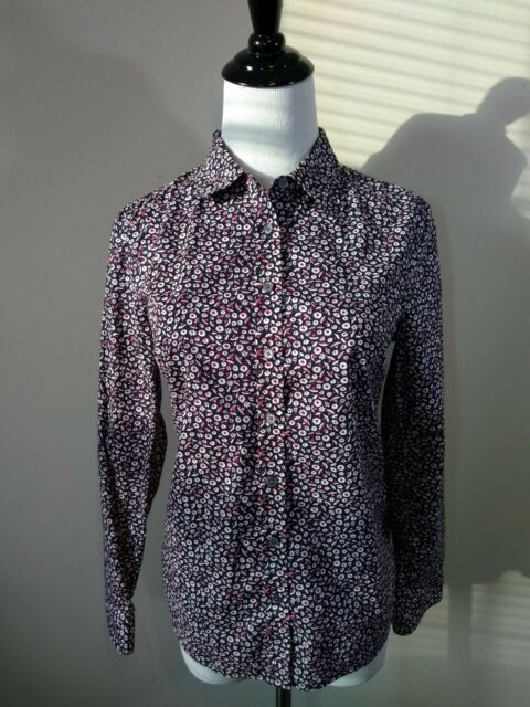 00a47b52a3 Talbots Petites Tab Sleeve Floral Button Down Shirt Size 6P