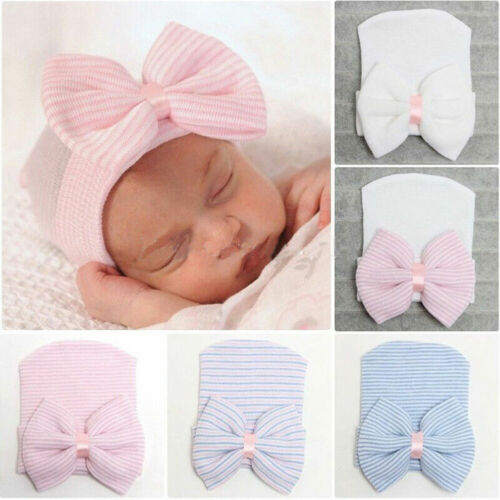 Cute Newborn Baby Infant Toddler Girl Comfy Bowknot Warm Beanie Hat Hospital Cap
