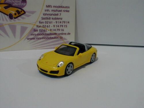 """Herpa 028868 2017 in /"""" racinggelb /"""" 1:87 NEU Porsche 911 Targa 4 Cabriolet Bj"""