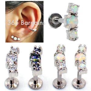 TRI-OPAL-GEM-Helix-Cartilage-Conch-Earring-Labret-Bar-Stud-Lip-Tragus-Flat-back