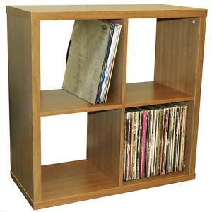 CUBE-4-Cubby-Square-Display-Shelves-Vinyl-LP-Storage-Oak-4134OC