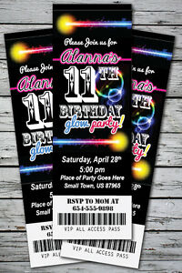 Details About GLOW Birthday Party Invitation TICKET Stub NEON Bracelet Necklace In The Dark