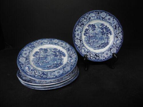 STAFFORDSHIRE LIBERTY BLUE 5 BREAD PLATES ..