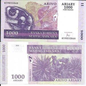 MADAGASCAR-1000-ARIARY-2004-P-89-LOTE-DE-5-BILLETES
