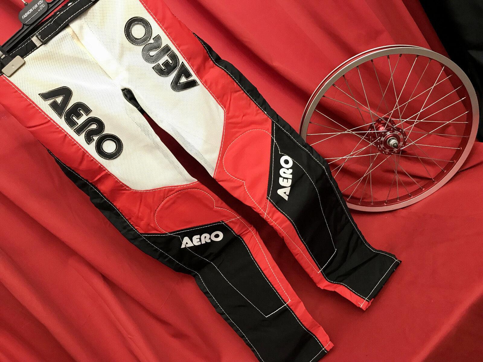 100% NOS BMX oldschool AERO factory race pants EU164cm 28in 72cm Redline colors