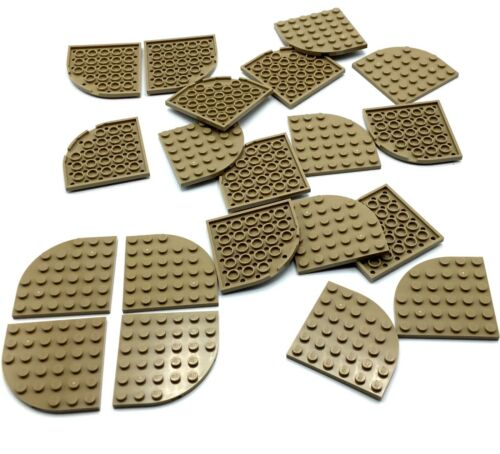 LEGO LOT OF 20 NEW DARK TAN  6 X 6 STUD PLATE PIECES ROUNDED CORNER FLAT PARTS