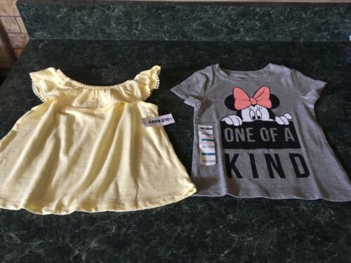 NWT Lot Of 2 Disney Minnie Mouse /& Old Navy Yellow Ruffle Top Size 2T Cute!