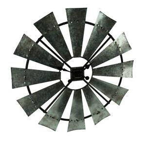 Scratch & Dent Distressed Grey Rustic 30 inch Metal Windmill Wall Clock