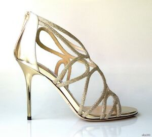 new-1100-JIMMY-CHOO-039-Layla-039-gold-glitter-open-toe-strappy-heels-shoes-SEXY