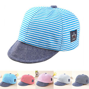 Baby Boy Summer Hats Striped Soft Cotton Eaves Baseball Cap Sun Hat ... 0bef3b2d198