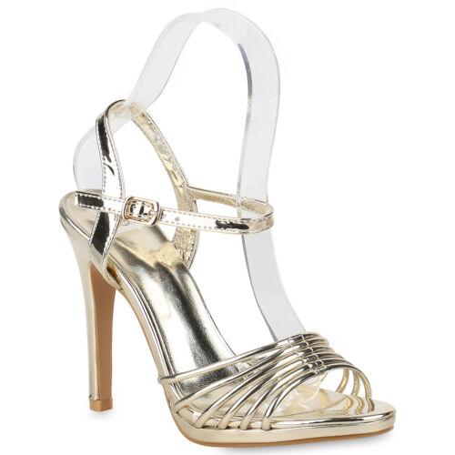 Damen Sandaletten Riemchensandaletten High Heels Party Schuhe 820440 Trendy Neu