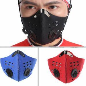 Trendige Atemschutz-Maske - Arbeit, Sport, schwarz, blau, rot + 2 Filter