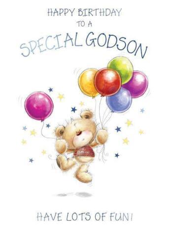 Happy Birthday To A Special Godson Bear /& Balloons Design Happy Birthday Card