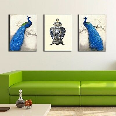 eb1d85fc6fd 3 Panels 60×80×3cm Peacock Canvas Prints Framed Wall Art Home Decor Painting