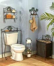 5 Pc Palm Trees Tropical Bathroom Set Shelf, Hooks, Hamper, Toilet Paper Storage