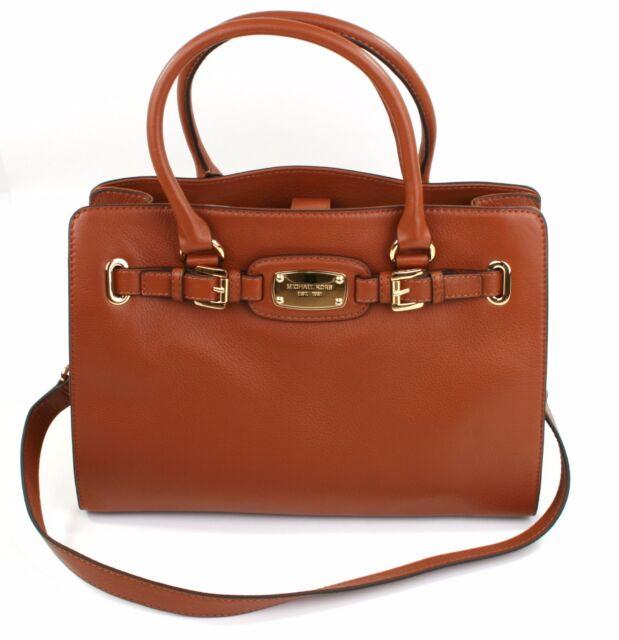 f3627c1084e2 Michael Kors Hamilton Tan Brown Leather Tote Tech Bag Large Handbag